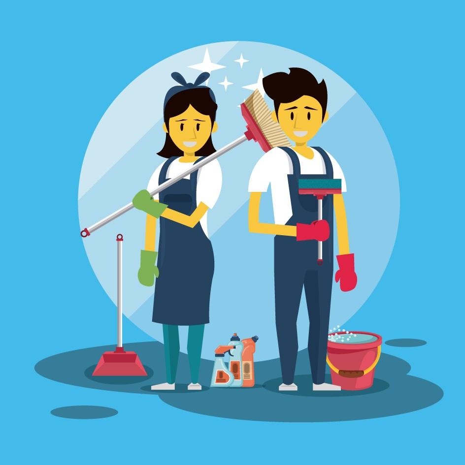 femme et homme de ménage