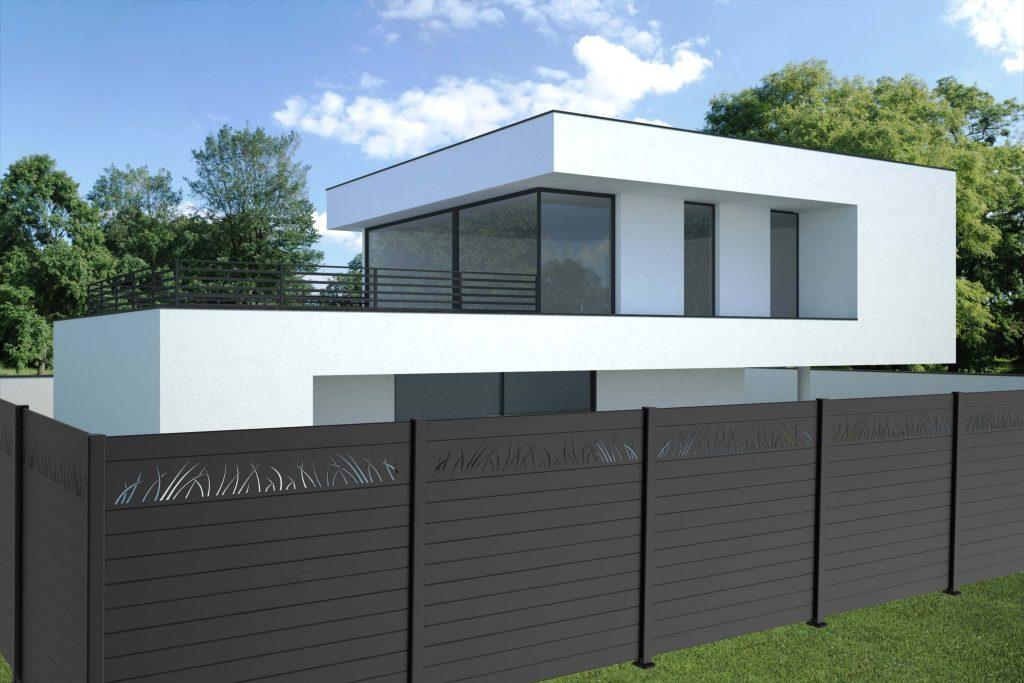 lames en aluminium pour clôturer un jardin